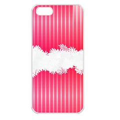 Digitally Designed Pink Stripe Background With Flowers And White Copyspace Apple Iphone 5 Seamless Case (white)