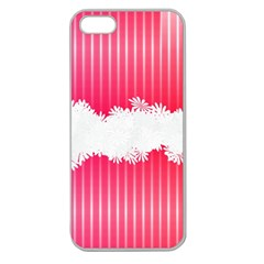 Digitally Designed Pink Stripe Background With Flowers And White Copyspace Apple Seamless iPhone 5 Case (Clear)