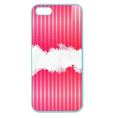 Digitally Designed Pink Stripe Background With Flowers And White Copyspace Apple Seamless iPhone 5 Case (Color)
