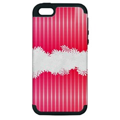 Digitally Designed Pink Stripe Background With Flowers And White Copyspace Apple Iphone 5 Hardshell Case (pc+silicone)