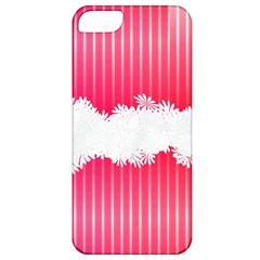 Digitally Designed Pink Stripe Background With Flowers And White Copyspace Apple Iphone 5 Classic Hardshell Case