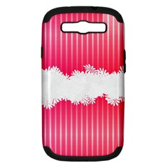 Digitally Designed Pink Stripe Background With Flowers And White Copyspace Samsung Galaxy S Iii Hardshell Case (pc+silicone)