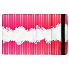 Digitally Designed Pink Stripe Background With Flowers And White Copyspace Apple Ipad 2 Flip Case