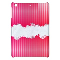 Digitally Designed Pink Stripe Background With Flowers And White Copyspace Apple iPad Mini Hardshell Case