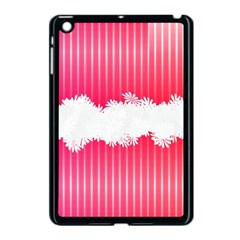 Digitally Designed Pink Stripe Background With Flowers And White Copyspace Apple iPad Mini Case (Black)