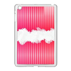 Digitally Designed Pink Stripe Background With Flowers And White Copyspace Apple iPad Mini Case (White)