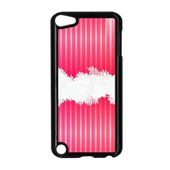 Digitally Designed Pink Stripe Background With Flowers And White Copyspace Apple iPod Touch 5 Case (Black)