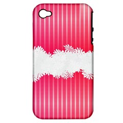 Digitally Designed Pink Stripe Background With Flowers And White Copyspace Apple Iphone 4/4s Hardshell Case (pc+silicone)