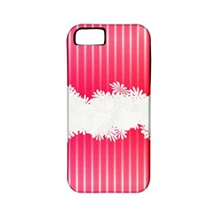 Digitally Designed Pink Stripe Background With Flowers And White Copyspace Apple iPhone 5 Classic Hardshell Case (PC+Silicone)
