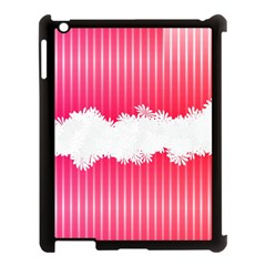 Digitally Designed Pink Stripe Background With Flowers And White Copyspace Apple Ipad 3/4 Case (black)