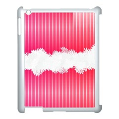 Digitally Designed Pink Stripe Background With Flowers And White Copyspace Apple Ipad 3/4 Case (white)