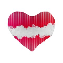 Digitally Designed Pink Stripe Background With Flowers And White Copyspace Standard 16  Premium Heart Shape Cushions