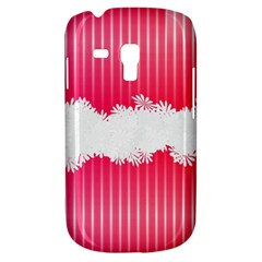 Digitally Designed Pink Stripe Background With Flowers And White Copyspace Galaxy S3 Mini