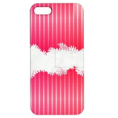 Digitally Designed Pink Stripe Background With Flowers And White Copyspace Apple iPhone 5 Hardshell Case with Stand