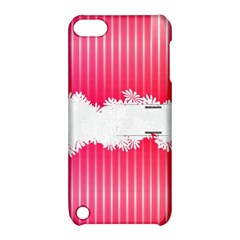 Digitally Designed Pink Stripe Background With Flowers And White Copyspace Apple Ipod Touch 5 Hardshell Case With Stand