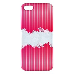 Digitally Designed Pink Stripe Background With Flowers And White Copyspace Apple iPhone 5 Premium Hardshell Case