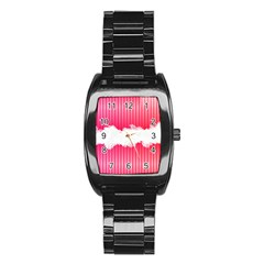 Digitally Designed Pink Stripe Background With Flowers And White Copyspace Stainless Steel Barrel Watch