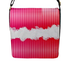 Digitally Designed Pink Stripe Background With Flowers And White Copyspace Flap Messenger Bag (l)