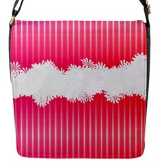 Digitally Designed Pink Stripe Background With Flowers And White Copyspace Flap Messenger Bag (s)
