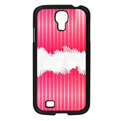 Digitally Designed Pink Stripe Background With Flowers And White Copyspace Samsung Galaxy S4 I9500/ I9505 Case (Black)