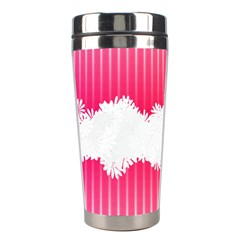 Digitally Designed Pink Stripe Background With Flowers And White Copyspace Stainless Steel Travel Tumblers
