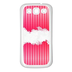 Digitally Designed Pink Stripe Background With Flowers And White Copyspace Samsung Galaxy S3 Back Case (white)