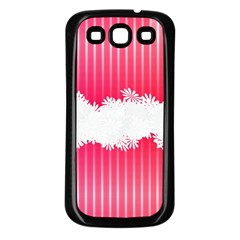 Digitally Designed Pink Stripe Background With Flowers And White Copyspace Samsung Galaxy S3 Back Case (black)