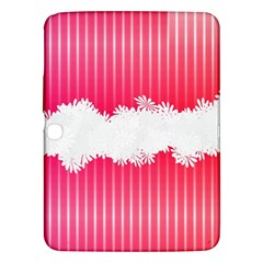 Digitally Designed Pink Stripe Background With Flowers And White Copyspace Samsung Galaxy Tab 3 (10.1 ) P5200 Hardshell Case