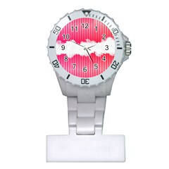 Digitally Designed Pink Stripe Background With Flowers And White Copyspace Plastic Nurses Watch