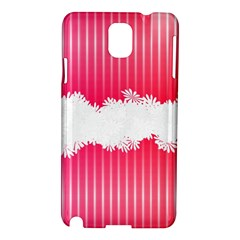 Digitally Designed Pink Stripe Background With Flowers And White Copyspace Samsung Galaxy Note 3 N9005 Hardshell Case