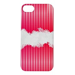 Digitally Designed Pink Stripe Background With Flowers And White Copyspace Apple iPhone 5S/ SE Hardshell Case