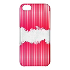 Digitally Designed Pink Stripe Background With Flowers And White Copyspace Apple iPhone 5C Hardshell Case