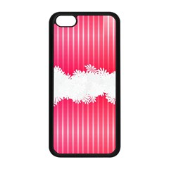 Digitally Designed Pink Stripe Background With Flowers And White Copyspace Apple Iphone 5c Seamless Case (black)