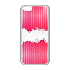 Digitally Designed Pink Stripe Background With Flowers And White Copyspace Apple Iphone 5c Seamless Case (white)