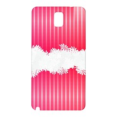 Digitally Designed Pink Stripe Background With Flowers And White Copyspace Samsung Galaxy Note 3 N9005 Hardshell Back Case