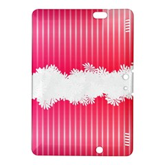 Digitally Designed Pink Stripe Background With Flowers And White Copyspace Kindle Fire Hdx 8 9  Hardshell Case