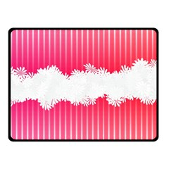 Digitally Designed Pink Stripe Background With Flowers And White Copyspace Double Sided Fleece Blanket (Small)