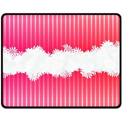 Digitally Designed Pink Stripe Background With Flowers And White Copyspace Double Sided Fleece Blanket (Medium)