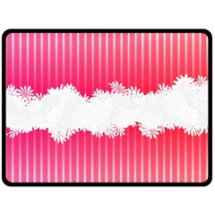 Digitally Designed Pink Stripe Background With Flowers And White Copyspace Double Sided Fleece Blanket (Large)