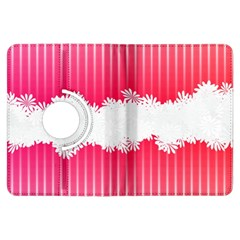 Digitally Designed Pink Stripe Background With Flowers And White Copyspace Kindle Fire Hdx Flip 360 Case