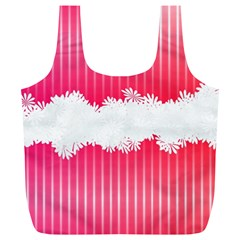 Digitally Designed Pink Stripe Background With Flowers And White Copyspace Full Print Recycle Bags (L)