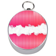 Digitally Designed Pink Stripe Background With Flowers And White Copyspace Silver Compasses