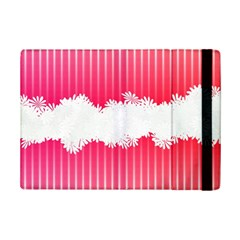 Digitally Designed Pink Stripe Background With Flowers And White Copyspace iPad Mini 2 Flip Cases