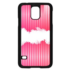 Digitally Designed Pink Stripe Background With Flowers And White Copyspace Samsung Galaxy S5 Case (Black)