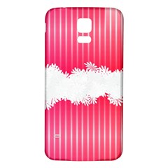 Digitally Designed Pink Stripe Background With Flowers And White Copyspace Samsung Galaxy S5 Back Case (White)