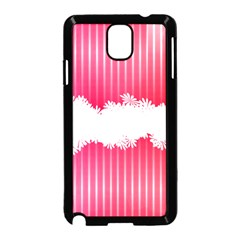Digitally Designed Pink Stripe Background With Flowers And White Copyspace Samsung Galaxy Note 3 Neo Hardshell Case (Black)