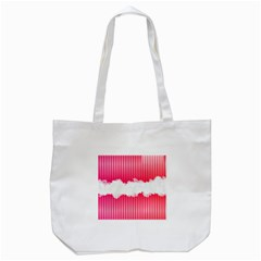 Digitally Designed Pink Stripe Background With Flowers And White Copyspace Tote Bag (White)