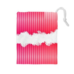 Digitally Designed Pink Stripe Background With Flowers And White Copyspace Drawstring Pouches (Large)