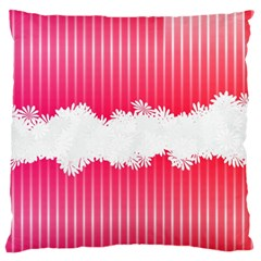 Digitally Designed Pink Stripe Background With Flowers And White Copyspace Large Flano Cushion Case (one Side)