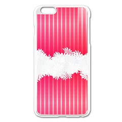 Digitally Designed Pink Stripe Background With Flowers And White Copyspace Apple iPhone 6 Plus/6S Plus Enamel White Case